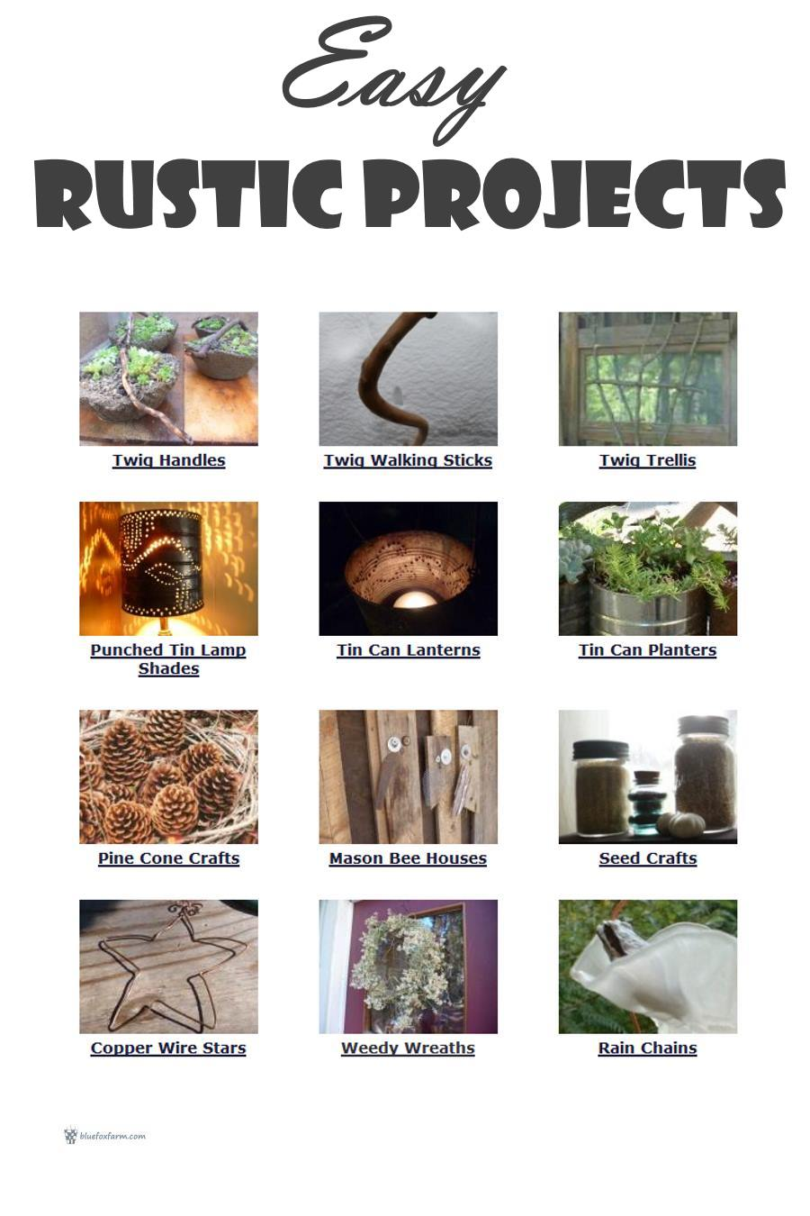 Easy Rustic Projects - which one will you choose? See the links to each of them below...