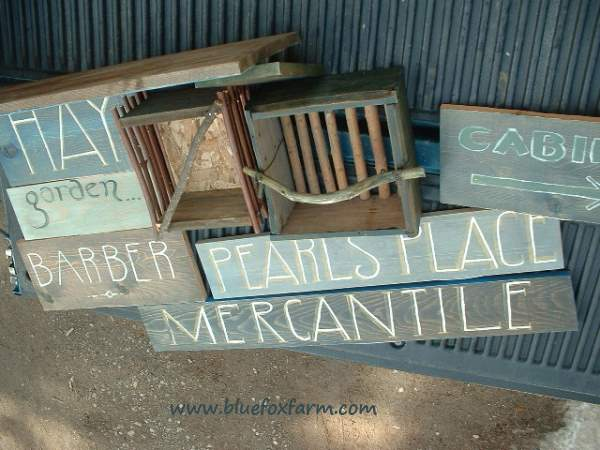 Barnboard painted signs...