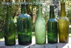 Collectible Green Glass Bottles show so much variation in texture and color