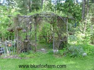 Rustic Twig Gazebo in the woods...