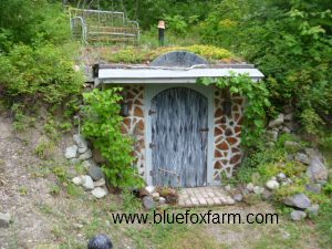 Glory Be, the root cellar complete with green Sedum roof...
