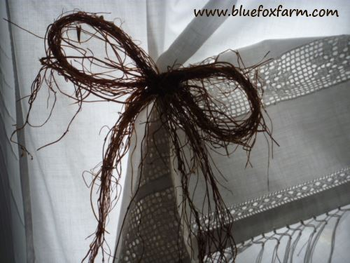Thyme Roots make a beautiful rustic bow