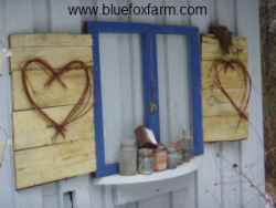 Vintage Windows flanked by sweet twig hearts