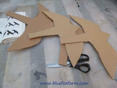 Cardboard cut into hawk shapes