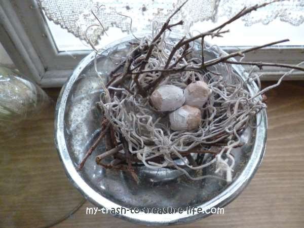Birds Nest Under Glass - a primitive take on the Victorian still life...