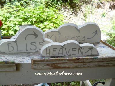 Cloud shaped signs are a fun little emphasis on the theme...