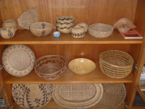 Burl bowl and vintage baskets display well together
