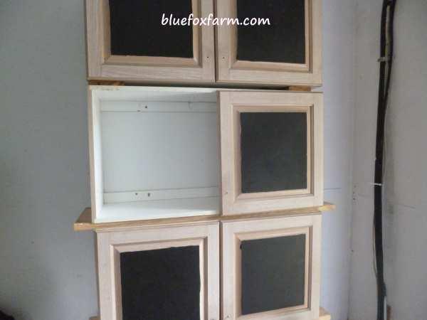 Chalkboard painted cabinet doors