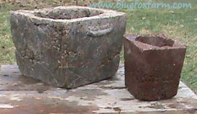 Curing Hypertufa adds strength to these great rustic pots