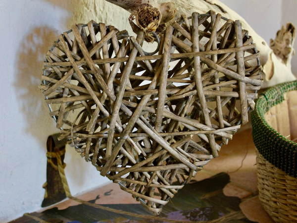 Driftwood crafted into the shape of a heart