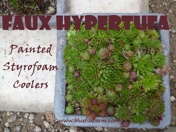 Faux Hypertufa Painted Styrofoam Troughs; for the lightweights