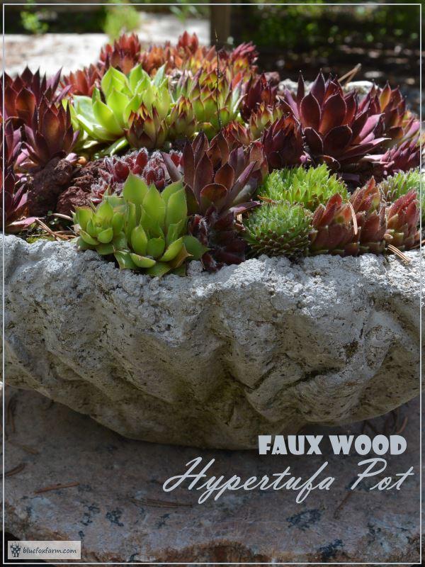 Faux Wood Hypertufa Pot
