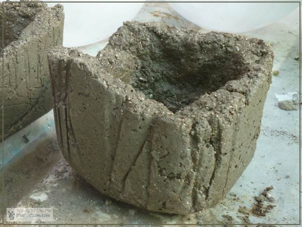 Hypertufa pot made in an ice cream container