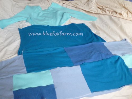 Join the rest of the t-shirts cut into squares or rectangles...patchwork fashion...