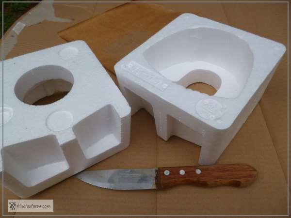 Odd shaped pieces of Styrofoam packaging