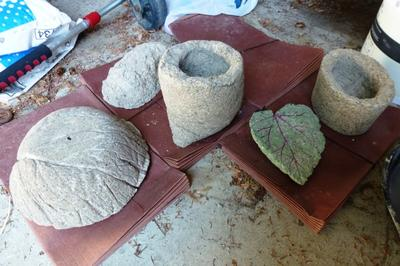 Some projects drying...bowl on left made using cabbage leaves