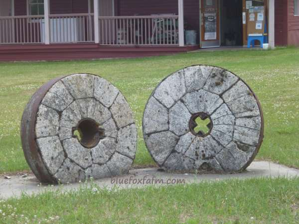 The real thing; millstones weatherbeaten and worn after years of use...