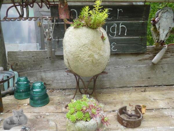 Hypertufa Orb, planted with Sedum 'Angelina'
