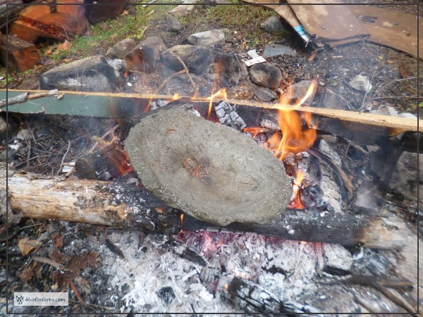 Flat hypertufa dish on the fire