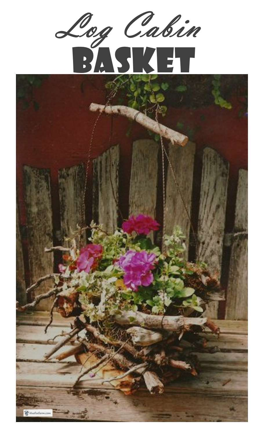 Planted with brightly colored annuals to complement the rustic twigs and roots