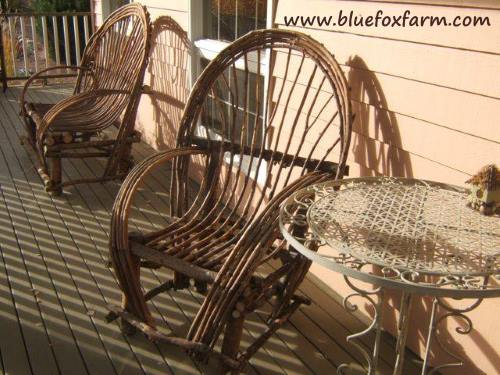 Imagine early morning coffee sitting on these bent twig chairs...