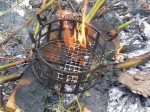 Burning the paint off metal pieces lets them rust - click to see the finished project