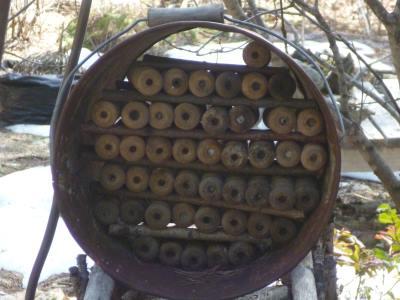 Mason Bee Condo made with decorative spools