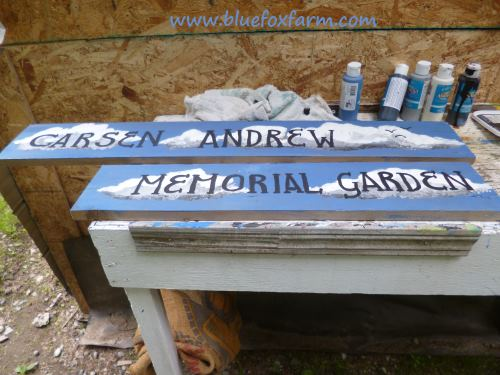 The finished signs for the Carsen Andrew Memorial Garden