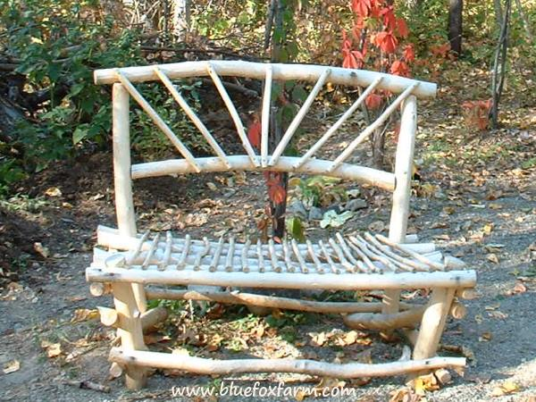 Rustic Peeled Willow Bench