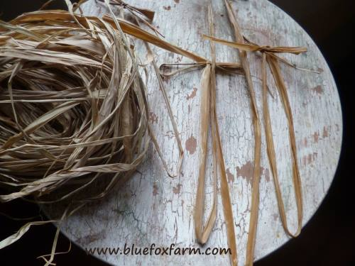 Raffia cut into pieces and tied into bows