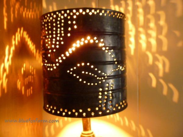 The design of the punching lets the light shine through in an intriguing pattern