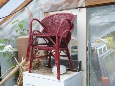 Old wicker chairs that someone painted red - it wasn't me!