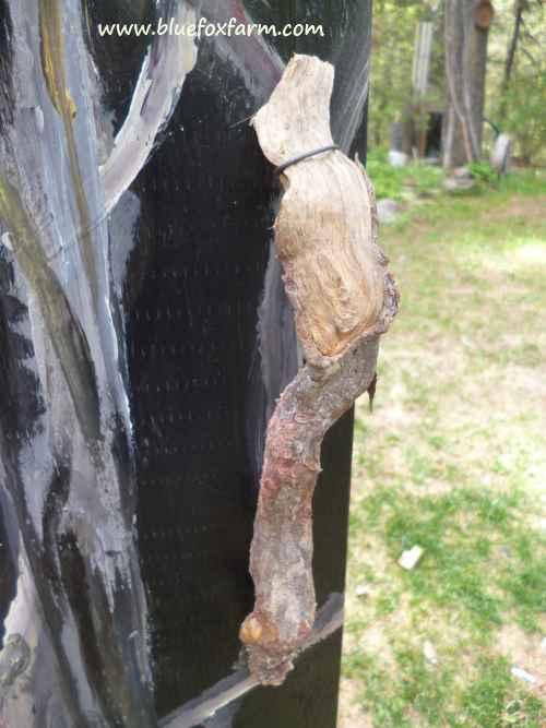 The black painted door gets a twig handle...
