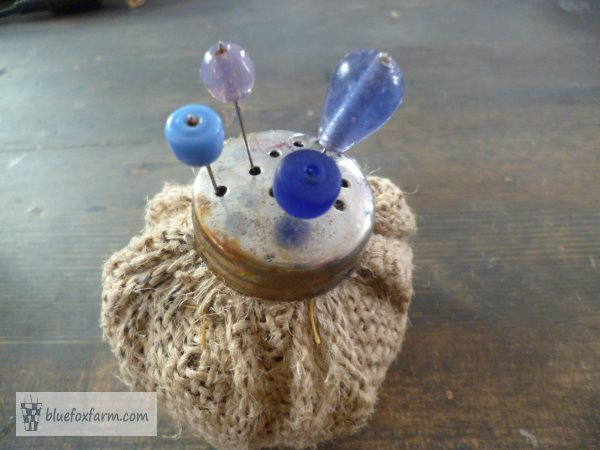 Rustic Pin Cushion with bead topped pins
