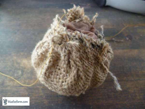 gather the drawstring to make a pouch