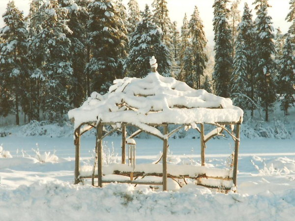 Rustic and twiggy, the gazebo at Tatla Springs makes a long winter bearable...