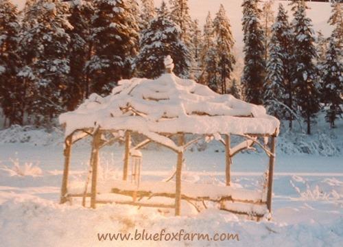Rustic and twiggy, the gazebo at Tatla Springs makes a long winter bearable...
