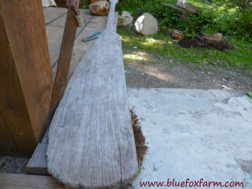 The perfect blank canvas for a sign - a weathered canoe paddle