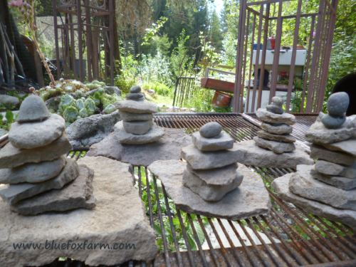 Stacked rocks waiting for their final homes