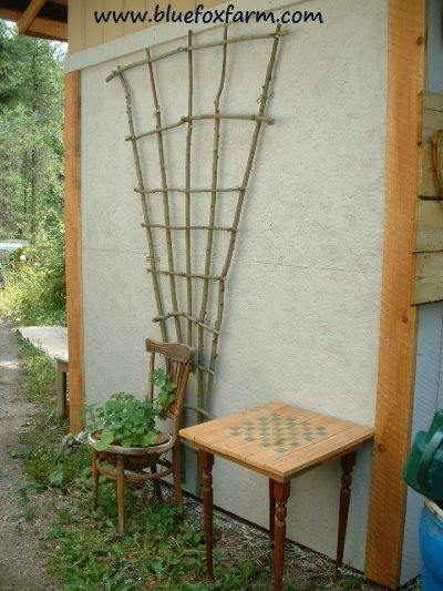 Use twigs to make a beautiful trellis...