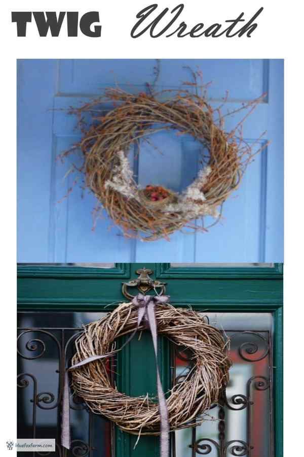 Rustic twig wreath displayed on the Eggporeum blue door