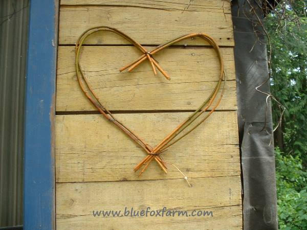 Close up view of the willow twig heart on one side of the window...