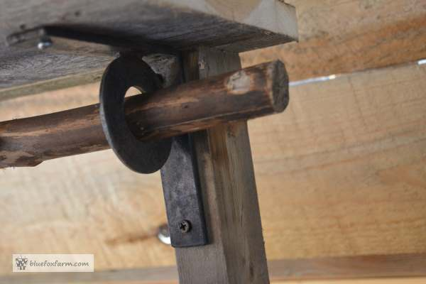 A detail of the welded bracket to hold the shelf
