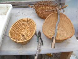 Salvaged baskets, with wires in place