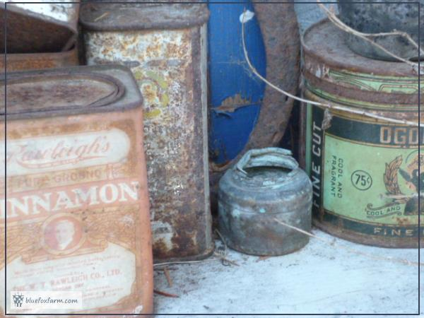 Rusty and Vintage Tins and Collectibles