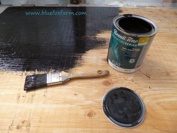 Matt finish black acrylic exterior paint