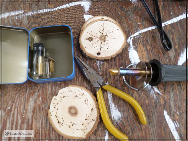 Branch Slice Ornaments - woodburning tool and supplies