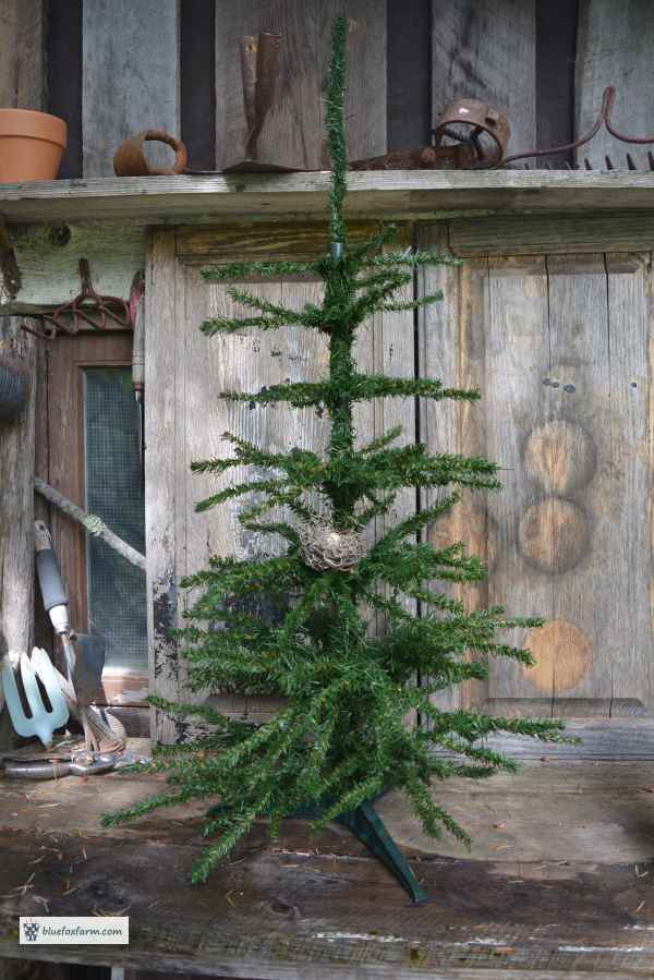 Fake Christmas Tree - trimmed into a Primitive one