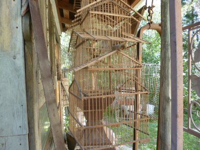 The finches have all flown from the bamboo bird cage