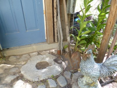 The 'Millstone' step is concrete salvaged after the post rotted away...